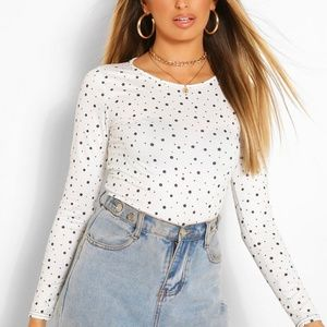 White Floral Scoop Neck Long Sleeve Top
